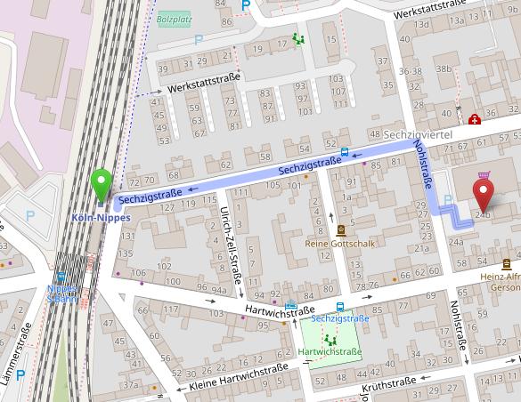 Landkarte mit dem Weg vom Bahnhof Nippes zum Gesangsstudio